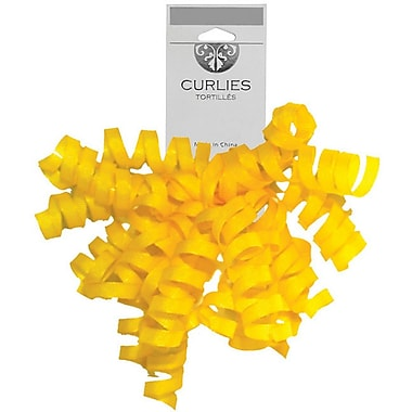 JAM Paper® Grosgrain Curly Gift Bows, 7.25 x 8.25, Yellow, 120/Pack (376333991)
