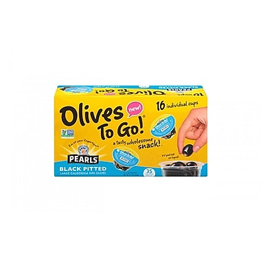 Pearls Large Black Pitted Olives To-Go Cup, 16 Count (40223)