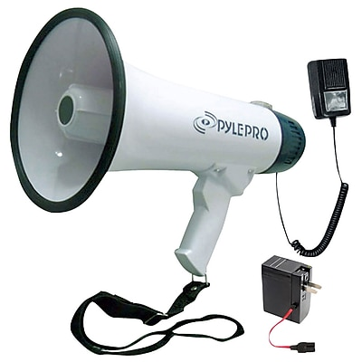 Pyle PMP45R CompactProfessional Dynamic Megaphone With Recording Function/Detachable Microphone 40 Watt, White (93582164M)