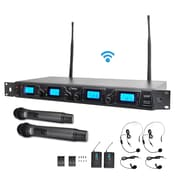 Pyle Pro PDWM4350U UHF Wireless Microphone System Kit Adjustable Frequency With Microphones and Transmitters