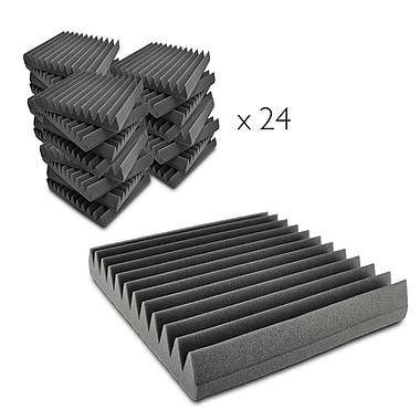 Pyle PSI18 Pro 24-Pieces Soundproofing Studio Foam Acoustic Recording Wedge Panels, Dark Grey