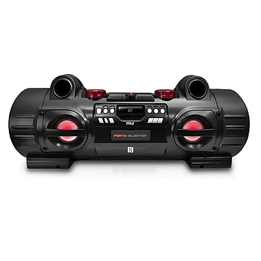 Pyle PBMSPG80 Party Blaster Boom Box, Bluetooth & NFC Wireless Streaming, Black/Red