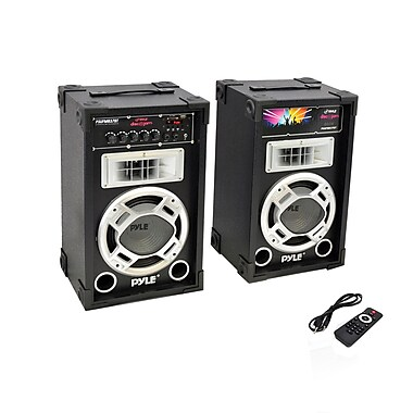 Pyle Pro PSUFM837BT 800 Watt Disco Jam Powered Two-Way PA Bluetooth Speaker System Black