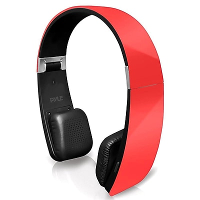 Pyle Home PHBT6R Bluetooth 2-in-1 Stereo Headphones with Built-in Microphone Red