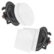 Pyle Home PDIC86 8.0'' In-Wall / In-Ceiling Dual 2-Way Stereo Speakers White