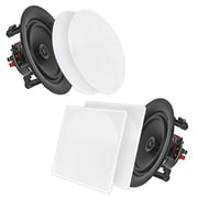 """Pyle Home PDIC56 5.25"""" In-Wall / In-Ceiling Dual Stereo 2-Way Speakers White"""