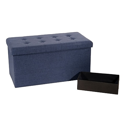 Seville Classics Foldable Tufted Storage Bench Ottoman,
