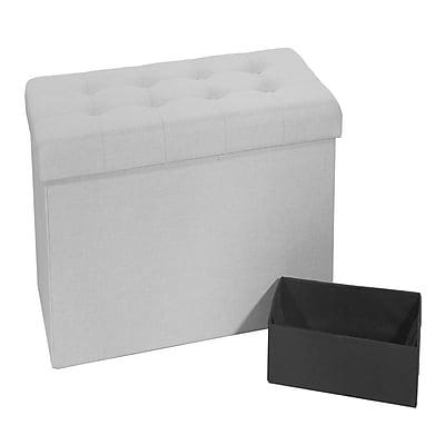 Seville Classics Foldable Tufted Storage Bench Ottoman, Alpine Gray (WEB367)