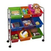 Seville Classics Mobile Toy Storage Organizer, 9-Bins Multi-Color