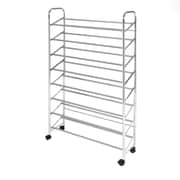 Seville Classics 8-Tier Mobile Shoe Rack, Chrome (WEB376)