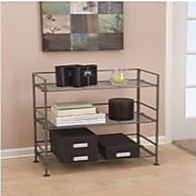 Seville Classics 3-Tier Iron Bar Tower Shelving, Satin Pewter (SHE04117B)