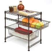 Seville Classics Double Basket Stackable Cabinet Organizer, Satin Bronze (SHE05122B)