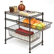 Seville Classics Double Basket Stackable Cabinet Organizer, Satin Bronze (SHE05122B)