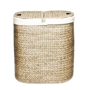 Seville Classics Water Hyacinth Lidded Oval Double Hamper (WEB167)