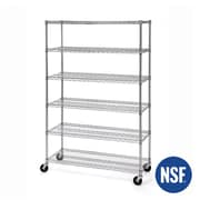 Seville Classics 6-Tier Ultra Zinc NSF Steel Wire Shelving with Wheels (WEB189)