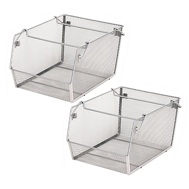 Seville Classics Large Stacking Mesh Storage Bins 2-Pack (WEB267)