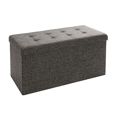 Seville Classics Foldable Storage Bench Ottoman, Charcoal Gray (WEB284)