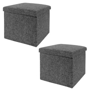 Seville Classics Foldable Storage Ottoman, Charcoal Gray 2-Pack (WEB291)