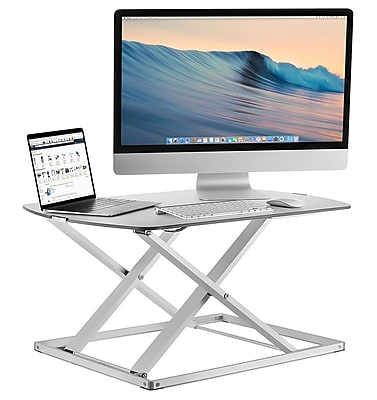 Mount It! Low Profile Sit Stand Desk Converter, Height Adjustable | Staples