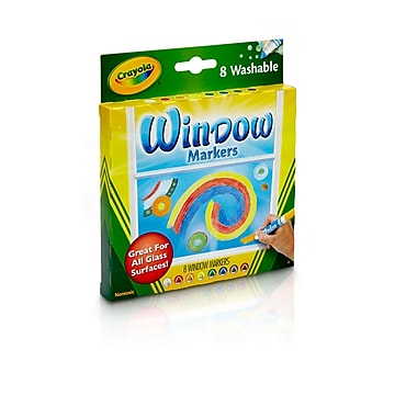 Binney & Smith Crayola Washable Window Markers, Conical Tip, 8/Pack