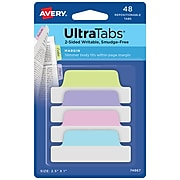"""Avery UltraTabs 2.5"""" x 1"""" Margin Tabs, Assorted Pastel, 48/Pack (74867)"""