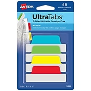 """Avery UltraTabs 2.5"""" x 1"""" Margin Tabs, Assorted Primary, 48/Pack (74866)"""