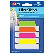 "Avery UltraTabs 2.5"" x 1"" Margin Tabs, Assorted Neon, 48/Pack (74865)"