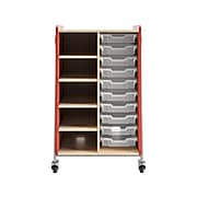 """Safco Whiffle Typical 2 48"""" x 30"""" Particle Board Double-Column Mobile Storage, Red (3922RED)"""