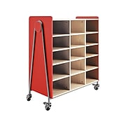 """Safco Whiffle Typical 11 48"""" x 43"""" Particle Board Triple-Column Mobile Storage, Red (3931RED)"""
