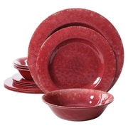 Gibson Studio California Mauna Crackle 12 Piece Melamine Dinnerware Set, Burgundy (9490412)