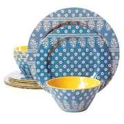 Gibson Studio California Zoey 12 Piece Melamine Dinnerware Set, Blue (9493612)