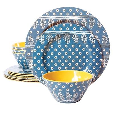 Gibson Studio California Zoey 12 Piece Melamine Dinnerware Set, Blue (9493612)