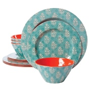 Gibson Studio California Solina 12 Piece Melamine Dinnerware Set, Aqua (9494112)