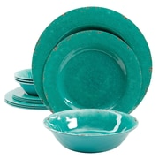 Gibson Studio California Mauna Crackle 12 Piece Melamine Dinnerware Set, Green (9499512)