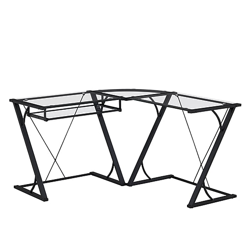 Bello Snyder L Shaped Computer Desk With Keyboard Tray Black