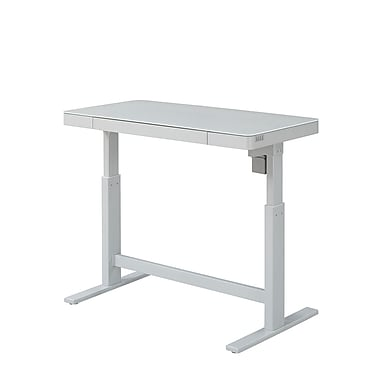 Bell'O Park Edge Electric Adjustable Height Desk, White Glass (ODP10444-48D908)
