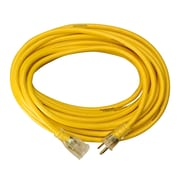 Coleman Cable 25-Foot 14/3 Contractor Extension Cord with Lighted End, Yellow (01497)