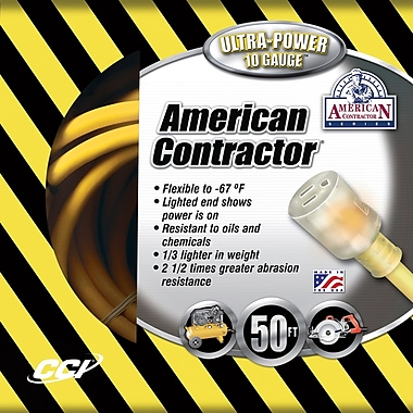 Coleman Cable 50-Foot 10/3 Contractor Extension Cord with Lighted End, Yellow (01798)
