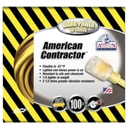 Coleman Cable 100 Foot 10/3 Contractor Extension Cord with Lighted End, Yellow (01799) by