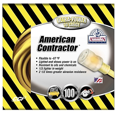 Coleman Cable 100-Foot 10/3 Contractor Extension Cord with Lighted End, Yellow (01799)