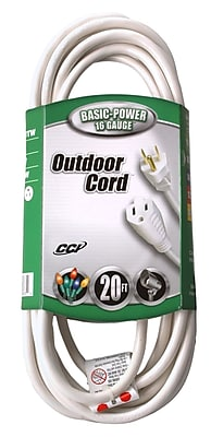 Coleman Cable 20-Foot 16/3 Vinyl Landscape Outdoor Extension Cord, White (02352-01)