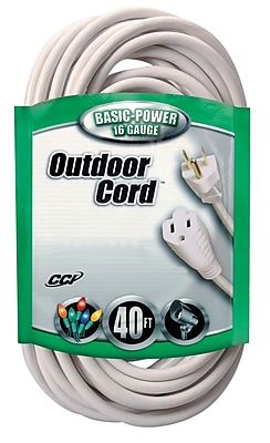 Coleman Cable 40-ft 16/3 SJTW Outdoor Vinyl Extension Cord, White (02356)