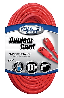 Coleman Cable 100-Foot 14/3 SJTW Vinyl Outdoor Extension Cord, Red (02409)