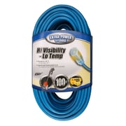 Coleman Cable 100-Foot 14/3 SJTW Low-Temp Outdoor Extension Cord with Lighted End, Blue (02469)