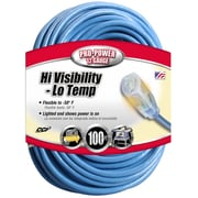 Coleman Cable 100 Foot 12/3 Hi Visibility/Low Temperature Outdoor Extension Cord, Blue (02569) by
