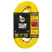 Yellow Jacket  50-Feet 12/3 Heavy-Duty 15-Amp SJTW Contractor Extension Cord, Locking, Yellow (2737)