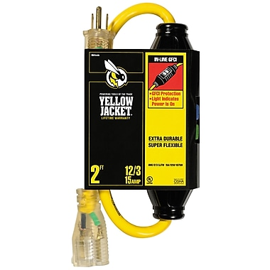 Yellow Jacket 2-Feet 12/3 SJTW In-Line GFCI with Lighted End, Yellow (2817)