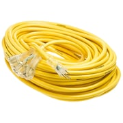 Yellow Jacket 100-Feet 12/3 Heavy-Duty 15-Amp SJTW Contractor Extension Cord with Lighted Power Block, Yellow (2820)