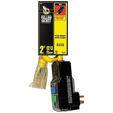 Yellow Jacket 2-Feet 2877 12/3 SJTW GFCI with Lighted End, Yellow (2877)