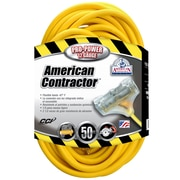 Coleman Cable 50 Feet 12/3 Wire Gauge Tri Source SJEOW Outdoor Vinyl Extension Cord, Yellow (03498) by